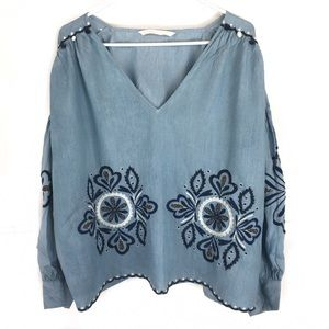 Zara   Chambray Beaded Embroidered Top